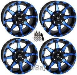 STI HD6 UTV Wheels/Rims Blue/Black 14 Polaris RZR 1000 XP (4)