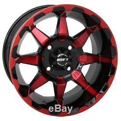 STI HD6 UTV Wheels/Rims Red/Black 14 Polaris RZR 1000 XP (4)