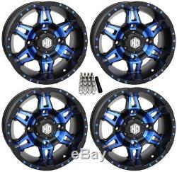 STI HD7 UTV Wheels/Rims Blue/Black 14 Polaris RZR 1000 XP (4)