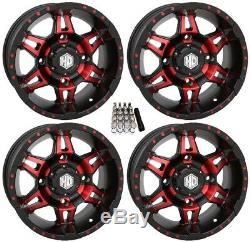 STI HD7 UTV Wheels/Rims Red/Black 14 Polaris RZR 1000 XP (4)