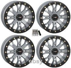 System 3 SB-4 Beadlock Grey (6+1) UTV Wheels 15 Polaris RZR Turbo S / RS1 (4)