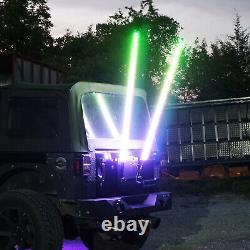 Two 3ft Spiral LED Whip Light Antenna Flag for Polaris Ranger RZR Yamaha Viking