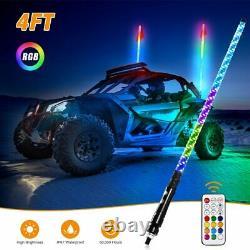 Two 4ft Spiral LED Whip Light Antenna Flag UTV ATV for Can Am Polaris RZR 1000