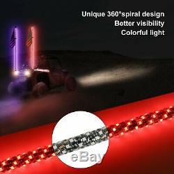 Two 5FT Spiral LED Whip Light Antenna Flag UTV ATV for Can-Am Polaris RZR 1000