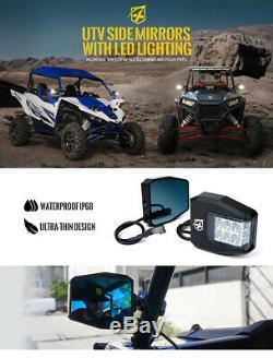 Xprite Rear View Side Mirrors with LED Lights Blue Anti-Glare for Polaris UTV ATV