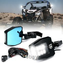 Xprite UTV Rear View Side Mirrors with LED Rock Lights for Polaris RZR XP Buggy
